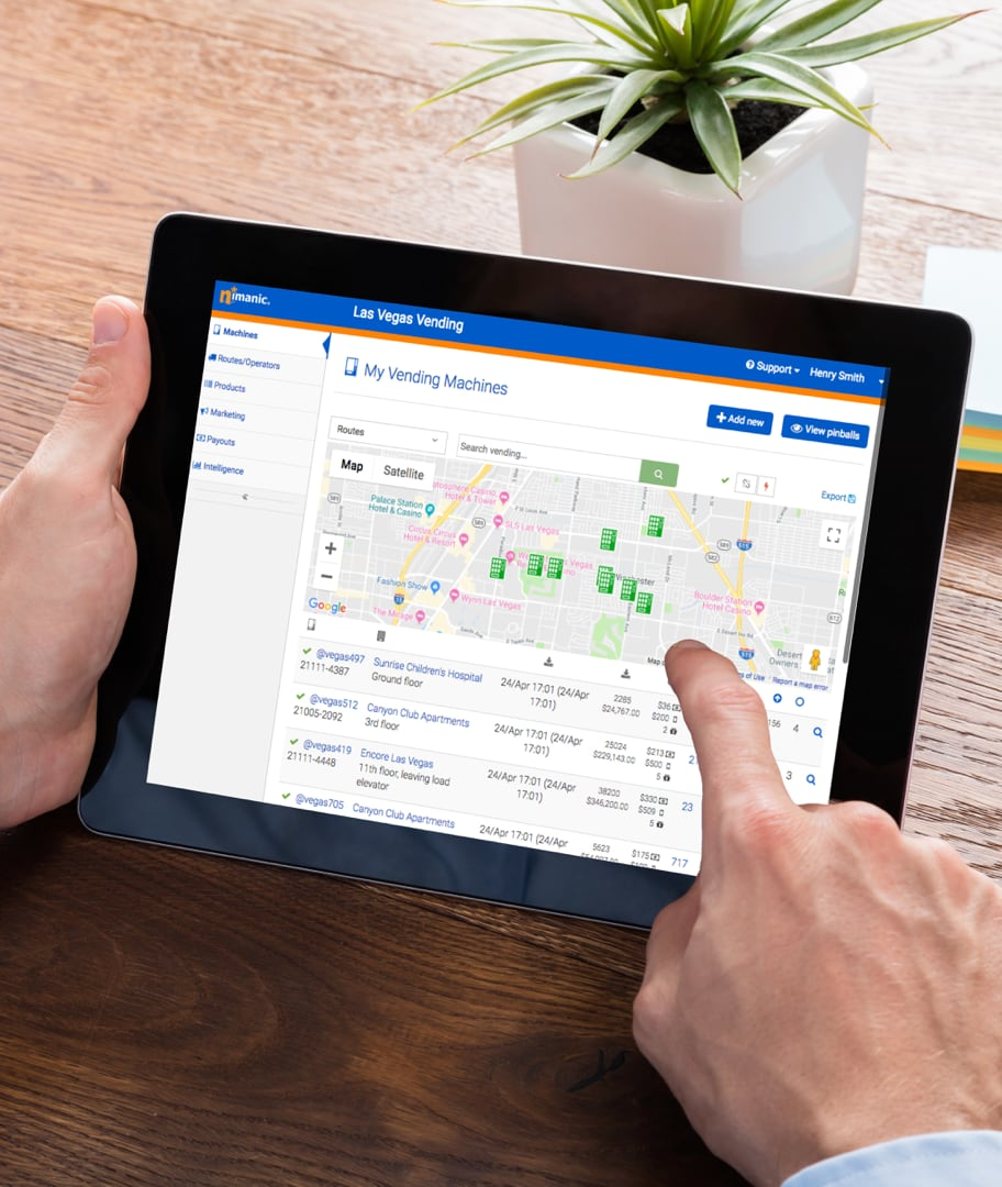 Nimanic Vending management System on a tablet